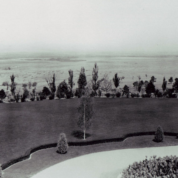The Mansion's front lawn looking north, circa 1926-1937.