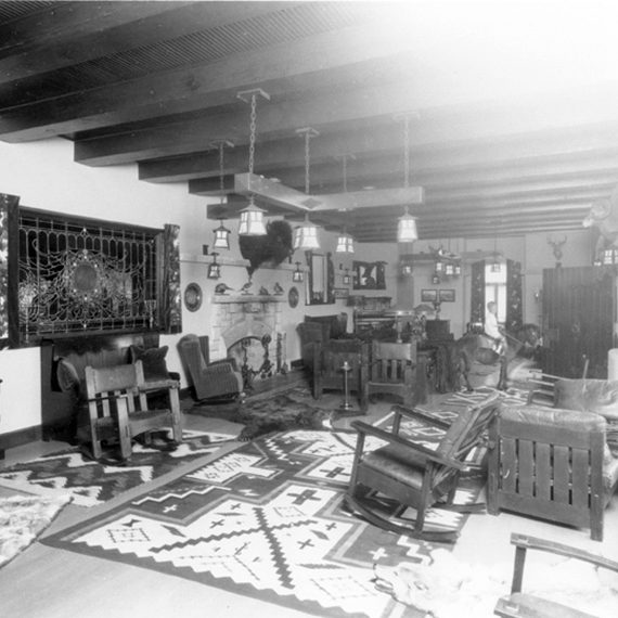 View of the Living Room taken sometime during Waite Phillips' ownership, 1920-1926.
