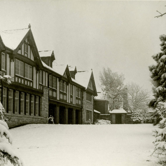 The back of the Mansion during a snowy winter day in the 1930s.