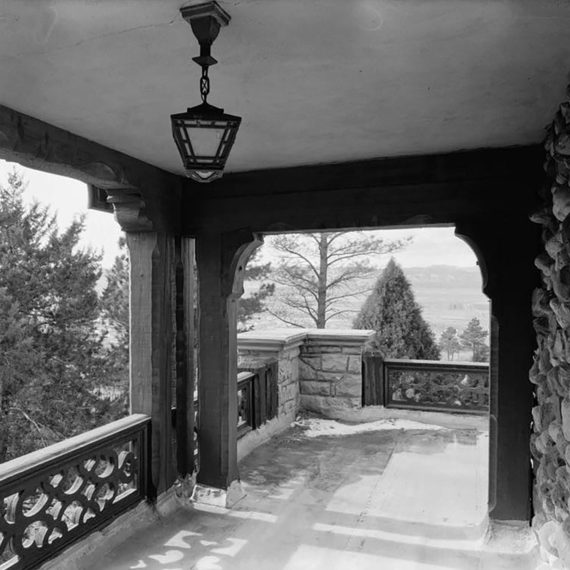 View looking west from the second level of the Mansion's outdoor porch. Photo taken post 1930s.