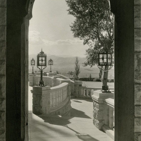 View of the Front Range from the Mansion's east porch, circa 1926-1937.