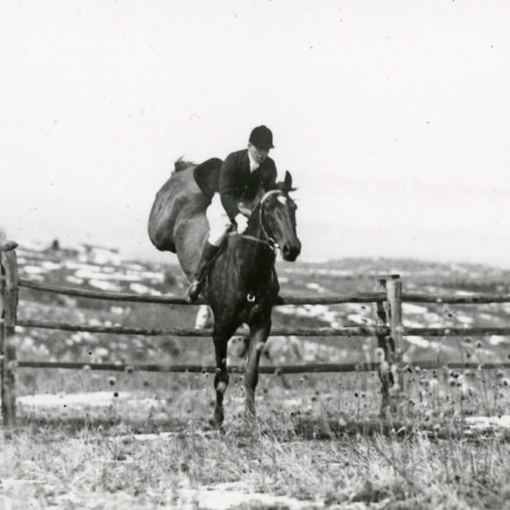 Lawrence Phipps, Jr., on horseback during a hunt with the Arapahoe Hunt Club. Photo taken 1940s-1950s.