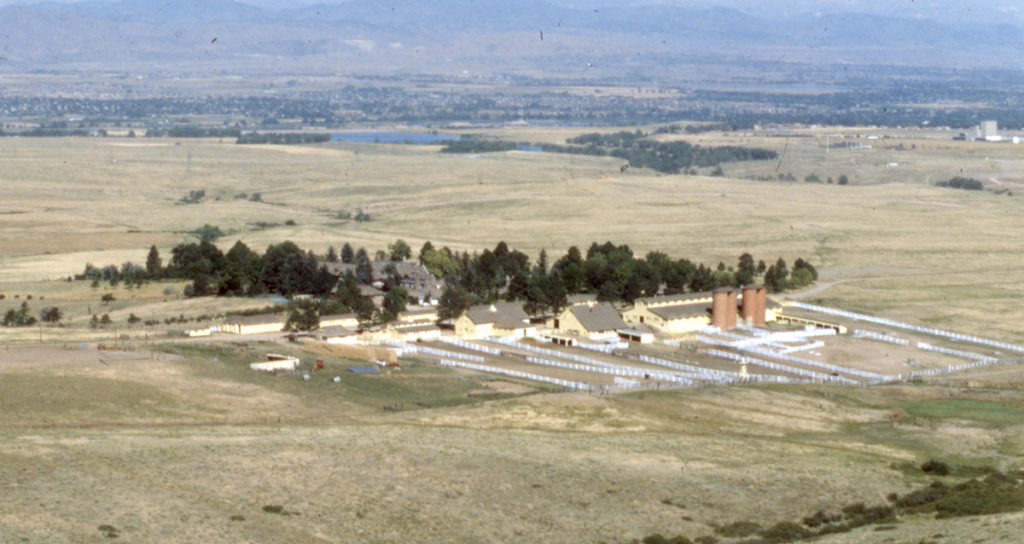 Aerial view of Highlands Ranch and the Mansion from the 1970s